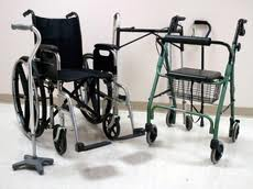 picture of wheelchair, classic rolling walker with cart, 4 prong cane, and another walker
